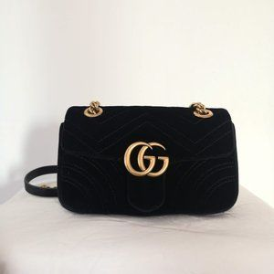 GUCCI Black Velvet Mini Marmont 2.0 Bag